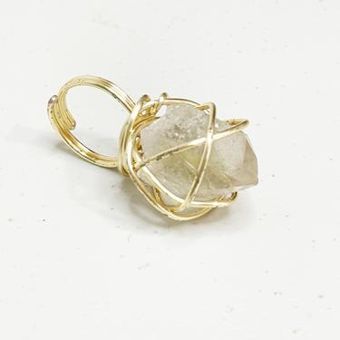 Clear Quartz Hand wrapped Adjustable Ring