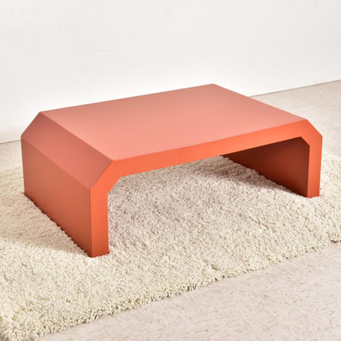 1970's Vintage Lacquered Burnt Orange Coffee Table
