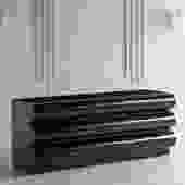 Post Modern Bullnose Front Black Laminate Dresser, 1980's