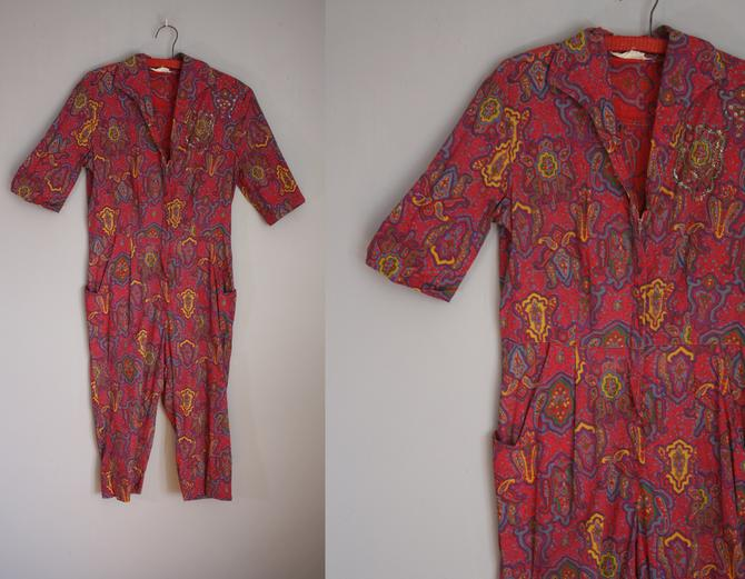 1950's Rare Loungees Jumpsuit // Paisley Pattern // Medium by LawrenceOfBaltimore