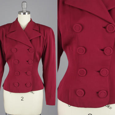 1950s Gabardine Blazer | Vintage 40s 50s Garnet Red Cropped Double Breasted Jacket | small / medium by RelicVintageSF