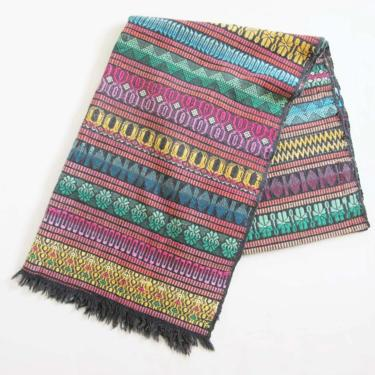 Vintage Mexican Woven Table Runner - 1960s Hand Loomed Thick Cotton Tablecloth - Black Colorful Geometric Mexican Cloth Blanket by MILKTEETHS