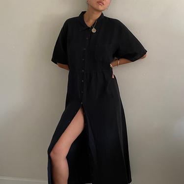 90s linen shirt dress / vintage black woven linen button front collared oversized tent shirt dress duster | XL by RecapVintageStudio