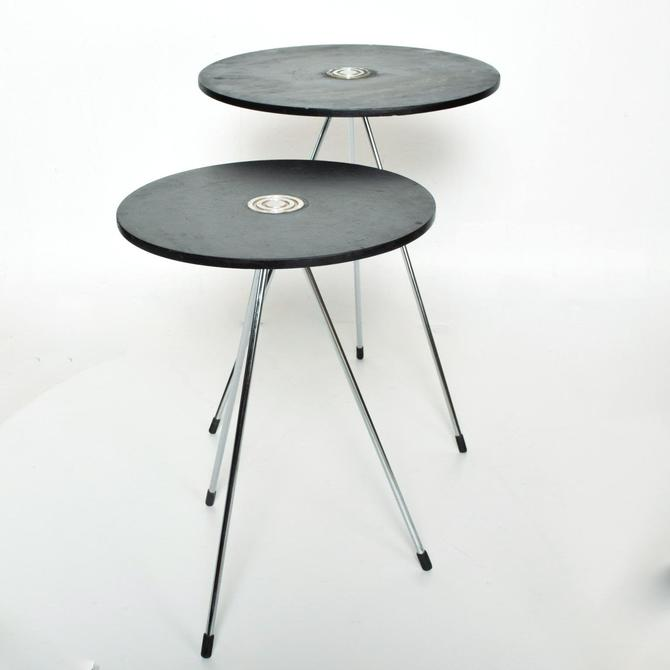 Mid Century Modern Mexican Round Nesting Tables in Black by AMBIANIC