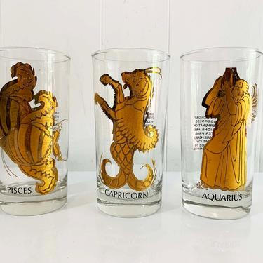 Vintage Pisces Capricorn Aquarius Zodiac Glass Astrology Anchor Hocking Black and Gold Horoscope Highball Glasses 1950s MCM by CheckEngineVintage