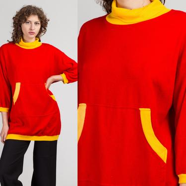 80s Long Red & Yellow Turtleneck Sweatshirt - Large | Vintage Soft Slouchy Pocket Pullover Sweater Dress by FlyingAppleVintage