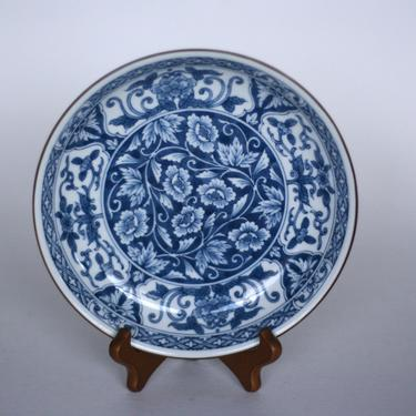 vintage andrea by sadek blue floral ceramic bowl by suesuegonzalas
