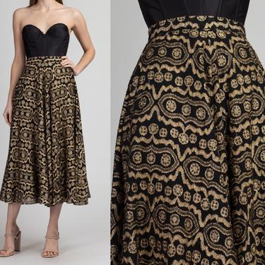 70s Gold Metallic Midi Skirt - Extra Small | Vintage A Line High Waist Flowy Boho Long Skirt by FlyingAppleVintage