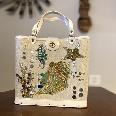 Vintage 60s Beaded Embellished Purse • Seahorse Starfish Fish Seashell Coral • Enid Collings Style Handbag Blue Green Nautical Under the Sea by elliemayhems