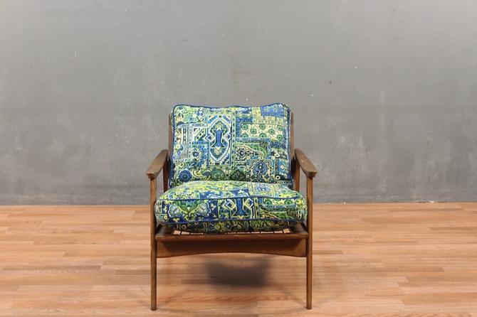"Classic Mid Century Walnut ""Groovy Garden"" Lounge Chair"