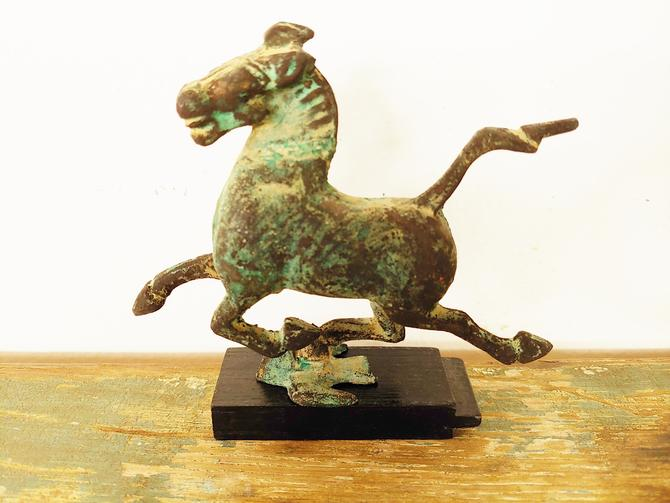 Vintage Bronze Flying Horse Sculpture by ModandOzzie
