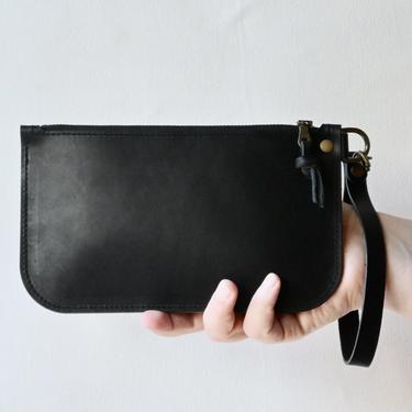 Small Leather Zipper Clutch, Black