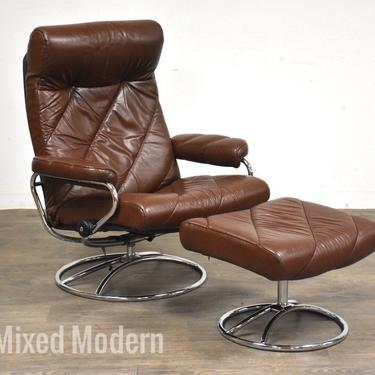 Brown Leather and Chrome Ekornes Lounge Chair and Ottoman by mixedmodern1