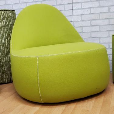 Modern Bernhardt Design Mitt Lounge Chair in Aloe Green with White Master Stitching