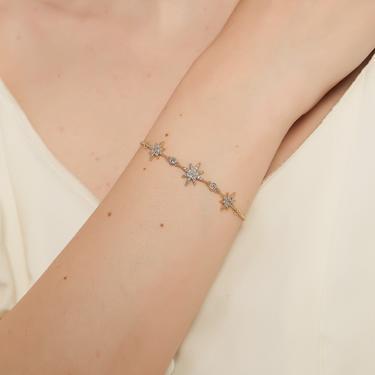 Lola gold Celestial Bracelet, Gold star Bracelet, Gold starburst Bracelet, sunburst Bracelet, dainty star Bracelet, dainty cz star bracelet by melangeblancdesigns