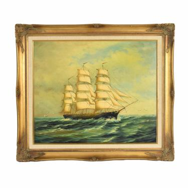 Vintage Original Oil Painting Tall Ship Schooner Sailing Vessel at Sea unsigned by PrairielandArt