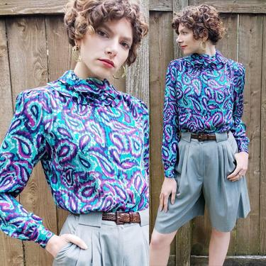 1980s Blouse Paisley Swirl Graphic Print Green Blue Purple /80s Long Sleeved Multicolored Button Down Shirt Ruffled Collar Gay Boyer Janelle by RareJuleVintage