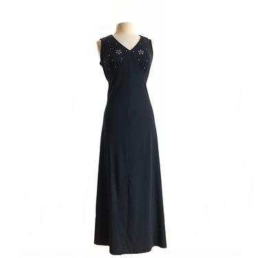 Vintage 70s black maxi dress/ rhinestone floral embellishments/ empire waist formal black dress/ long evening gown by Vintagiality