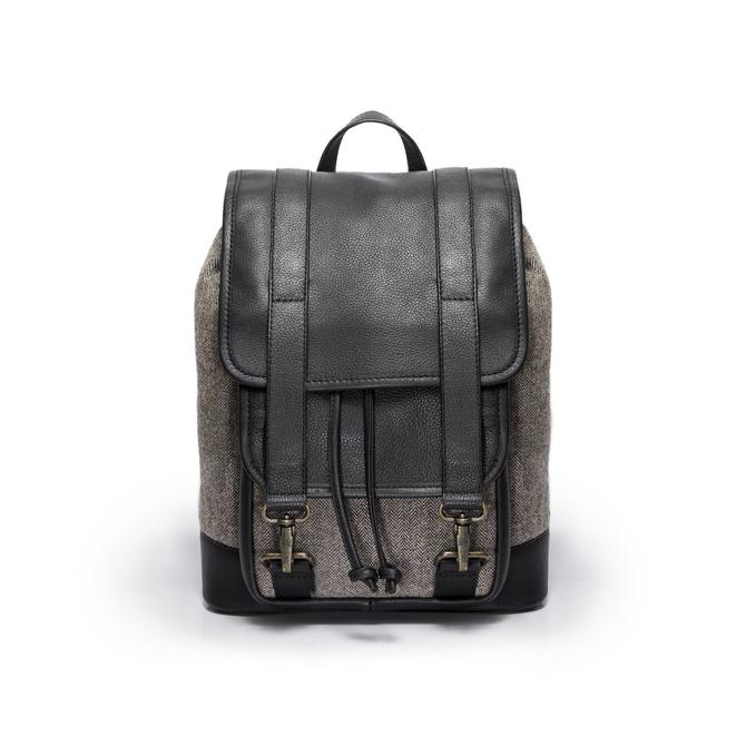 Tomcat- Grey herringbone and black leather