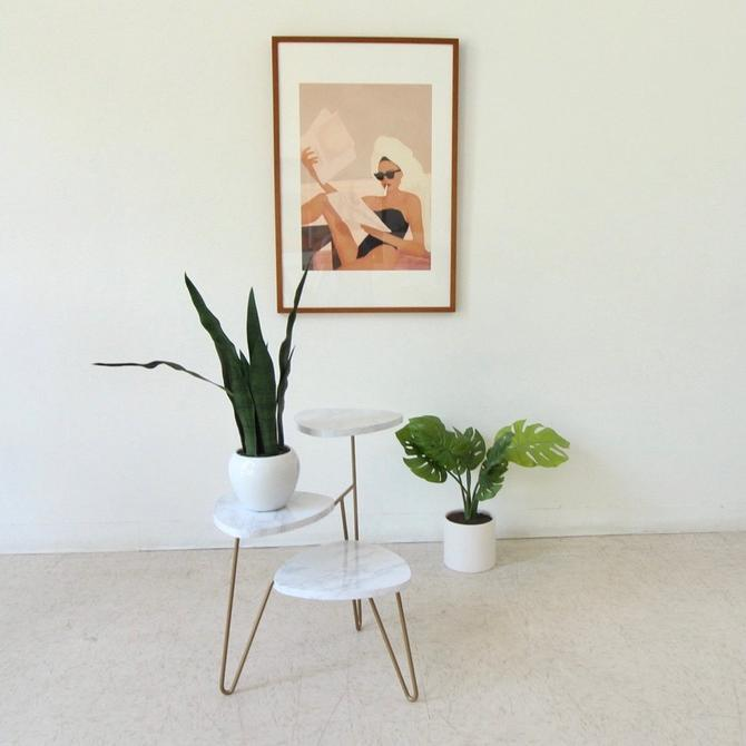 3 Tier Side Faux Marble Table Plant Stand