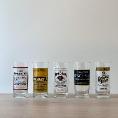 Vintage Highball Glasses   Set of 5   Bar Tumblers with Bourbon Whiskey Label Decals   Bar Cart Barware by PebbleCreekGoods