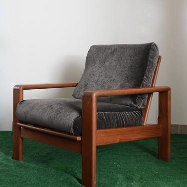 vintage wood cube frame arm chair with velvet cushions by fingerlickingvintage