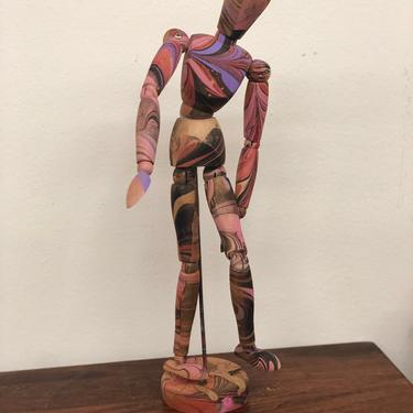 Colorful wood drawing body figure sculpture people person mid Century modern paint handmade movement retro decor by BigWhaleConsignment