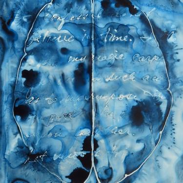 I Don't Believe in Time: Original ink painting on yupo of brain - neuroscience art literature Nabokov by artologica