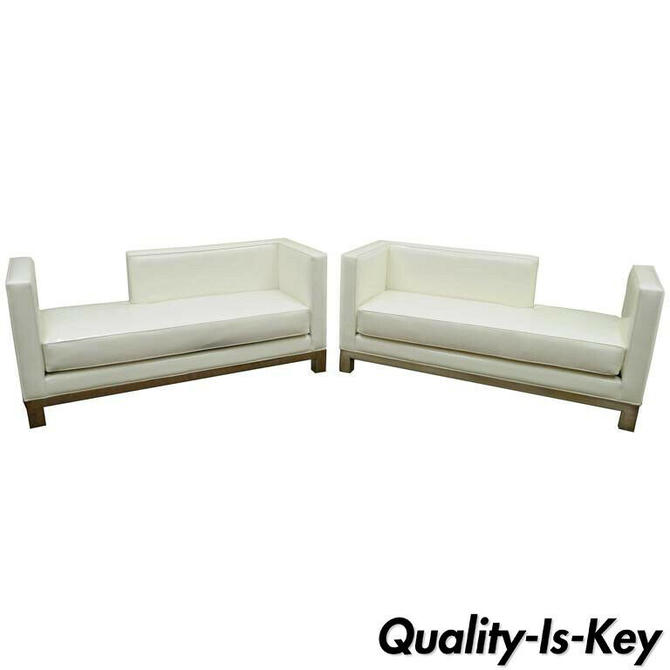 Pair of J.A. Casillas Modern White Vinyl Chrome Brushed Metal Chaise Lounge Sofa