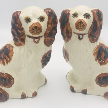 """Vintage reproduction English Staffordshire Spaniel Brown and White Dogs.  Nice 7"""" tall by JoAnntiques"""