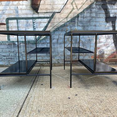 Pair of original mid century modern iron nightstands side end tables by paul mccobb black lacquer over maple iron frame by symmetrymodern