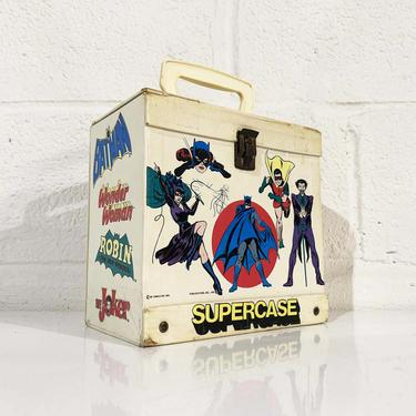 Vintage Supercase Record Tote 45 Box 45RPM 7 Inch Case Holder Storage Mid-Century Retro 1976 1970s 70s Batman Superman Joker Wonder Woman by CheckEngineVintage