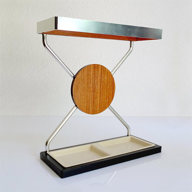 Vintage Danish Midcentury Umbrella Stand in Aluminum and Teak Wood 1960s In Modernist Panton Style by MCMSanFrancisco