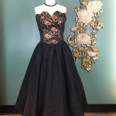 1980s prom dress, bow print, gunne sax, vintage 80s dress, fit and flare, small medium, full skirt, strapless dress, bronze and black, party by BlackLabelVintageWA