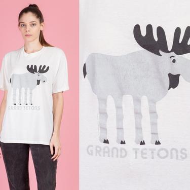 80s Grand Teton National Park Moose T Shirt - Men's Large | Vintage Graphic Animal Tourist Tee by FlyingAppleVintage