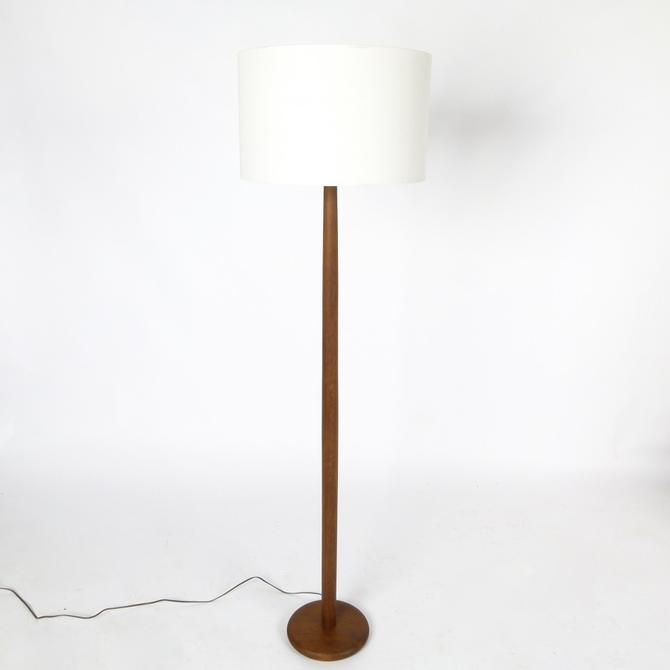 Teak Floor Lamp With Linen Shade