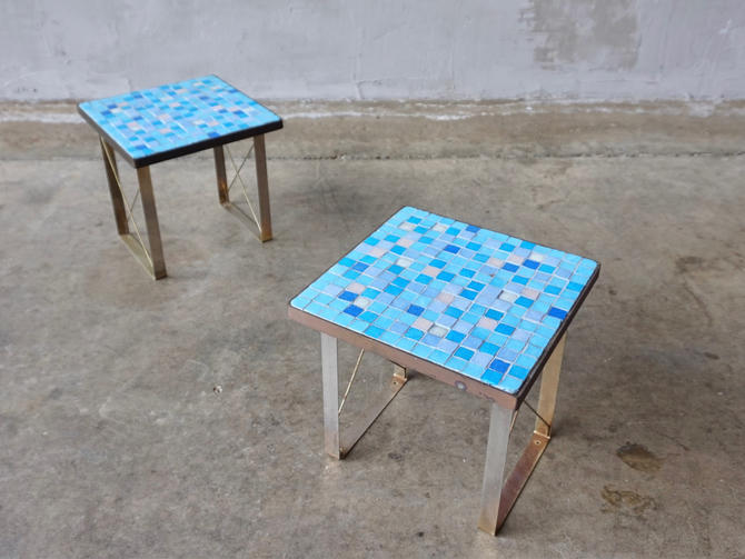 Vibrant Glass Tile Mosaic Tables. by FandFVintage