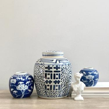 Older Chinese Double Happiness Ginger Jar Vase Vessel Blue White Chinoiserie Double Ring Stoneware by ModRendition