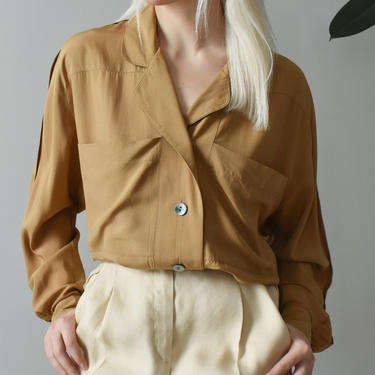 vintage 90s toffee brown silk blouse, minimal button down shirt, size M by ImprovGoods