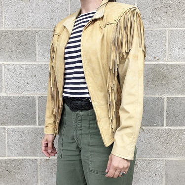 Vintage Fringe Leather Jacket Retro 1980s Adventure Bound by Wilsons + Size Small + Beige + Camel + Zip Up + Western Wear + Women's Apparel by RetrospectVintage215