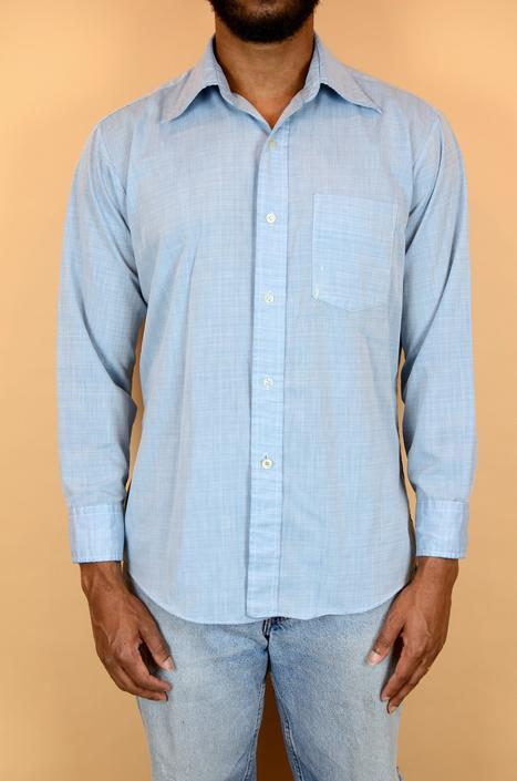 Vintage 70s Blue Button Down Western Chambray Workwear Shirt (Medium, Large) by MAWSUPPLY