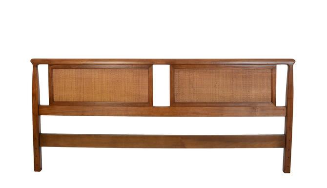 King Size Walnut Headboard Cane Mid Century Modern by HearthsideHome
