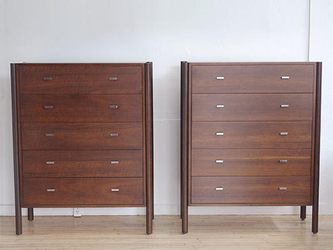 Harvey Probber Style Walnut Highboy Chest of Drawers