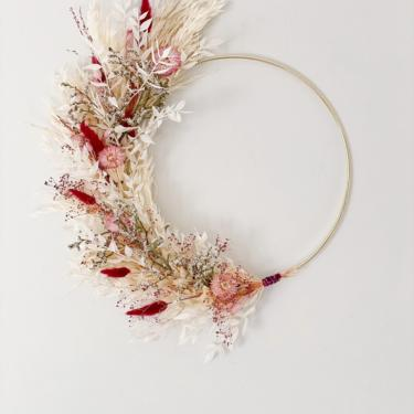 Magenta Bunny Tail Wreath, Dried Flower Wreath, Pampas Grass Wreath, Mother's Day Gift, Boho Wall Hanging by NovaWreaths