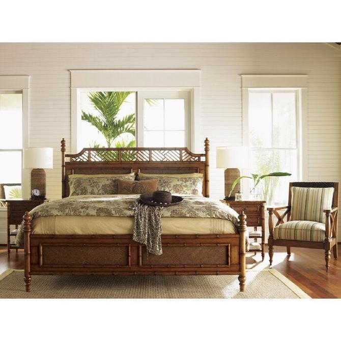 Faux Bamboo California King bed . wood and cane. beautiful by Dianemarieshome