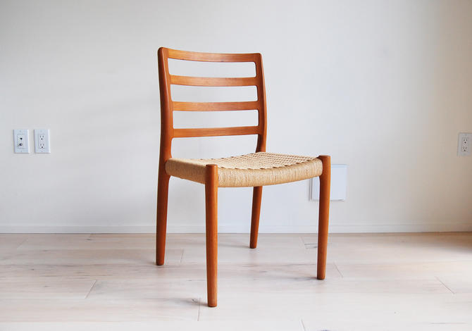 Danish Modern J L Moller Teak Chair Model 85 with Paper Cord Seat Niels Otto Moller Made in Denmark by MidCentury55