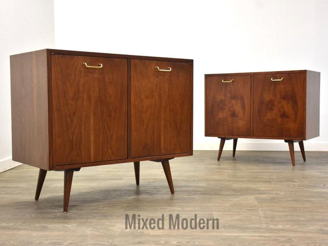 ONE American of Martinsville Walnut Cabinet Credenza by mixedmodern1