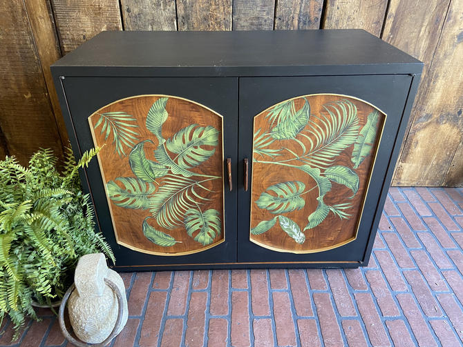 Refurbished Modern Black wood cabinet hand painted with Leafs, Accent Dresser, hand painted dresser, tropical modern cabinet, changing table by PeoplewillStare