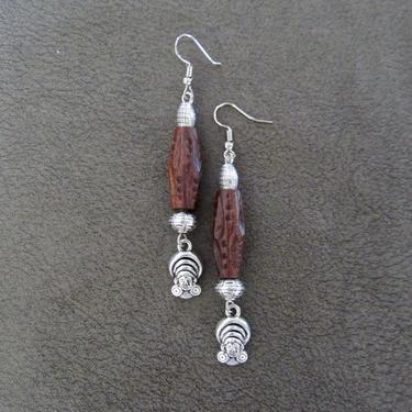 Goddess earrings, African statement earrings, Afrocentric earrings, carved wooden earrings, primitive earrings, boho chic, female figure by Afrocasian