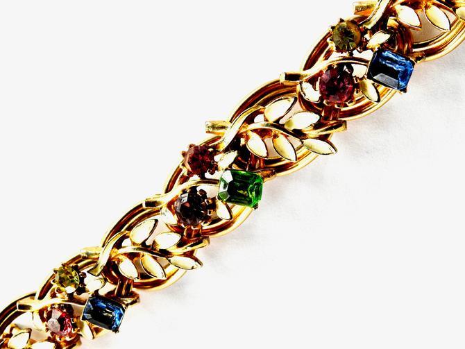 Mid century Pastel Rhinestone and Enamel Flower and Leaf Bracelet by LegendaryBeast